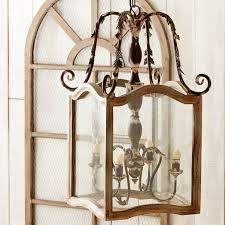 rustic wood and metal french country chandelier