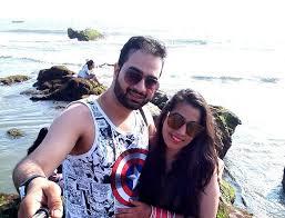 Indian couple in goa on honeymoon