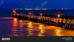 Ocean Night Light Pier Jetty Vlissingen Image Photo Free Trial Bigstock