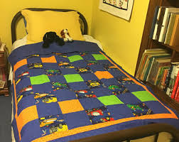 Quilted Throw w/ Wonder Woman Bat Girl Super Girl Superman & Construction theme quilt- almost twin size Adamdwight.com