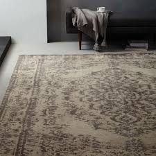 distressed arabesque wool rug neutral