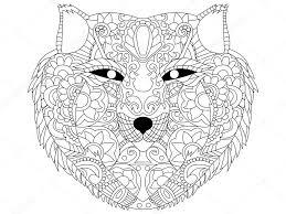 Wolf Vector Van Het Kleuren Voor Volwassenen Stockvector
