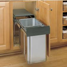 Under cabinet garbage can Lowes Revashelf Double Bin Stainless Steel Sink Base Pullout Waste Container Min Cabinet Opening 1038 Kitchensourcecom Pullout Builtin Trash Cans Cabinet Slide Out Under Sink