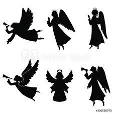 Fototapeta zestaw sylwetki aniołów na wymiar - boże narodzenie, anioły,  trąbka