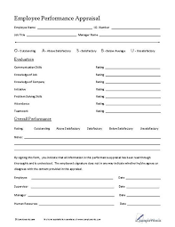 Template For Employee Performance Review Employee Performance Appraisal Business Forms Employee