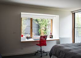 desk small home office. Small Home Office Design Idea - Steel Boxes Protrude From The Bedrooms And Create Study Areas Desk