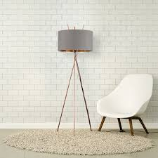 crawford copper floor lamp with grey and gold shade