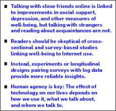 internet use and psychological well being effects of activity and the media frequently posit the internet is changing our social lives warning of a sad lonely world discovered in cyberspace or asking is facebook