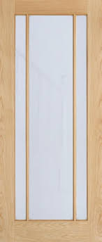 unfinished oak internal glazed door with vertical bars and opaque glazing