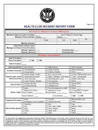 Club Incident Report Form Fill Online Printable Fillable