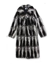 713226 new mens natural chinchilla fur full length coat stroller jacket 42