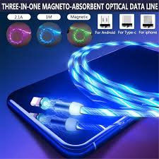 <b>LED Glow</b> Flowing Magnetic USB Cable Fast Charger for Huawei P ...