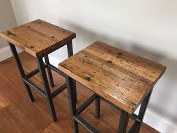 reclaimed oak furniture. Hand Crafted Reclaimed Oak Wood Bar Stools Wsteel Frames Backless Counter With Nailhead Trim Wayfair Target Solid Furniture