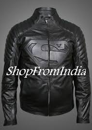 superman black leather jacket 10003