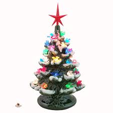 Ceramic Christmas Tree With Bird Lights Lighted Ceramic Christmas Tree Dove Bird Color Lights Snow Tips 8 1 2 Inches Tall Made To Order