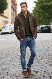 allsaintsout of stock consider pairing a dark brown leather military jacket with navy destroyed jeans for a casual