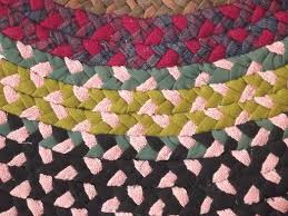 large old braided rug handmade vintage rag rug made of wool poly fabric