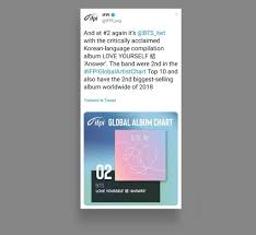 Global Album Chart Bts 2 And 3 On Ifpis Global Album Chart Billboard
