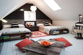 Kids shared bedroom designs Gender Bedroom Rustic Neutralgender Attic Teen Bedroom Design With Cool Movable Table Digsdigs 45 Wonderful Shared Kids Room Ideas Digsdigs