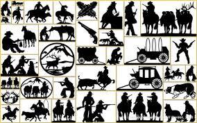 western metal art silhouettes