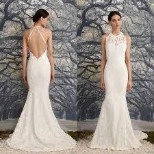 2016 elegant low back mermaid wedding dress halter jewel neck sexy