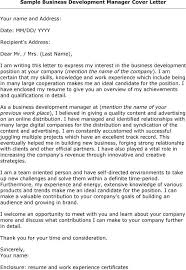 Cover Letter For Business Development Manager Position