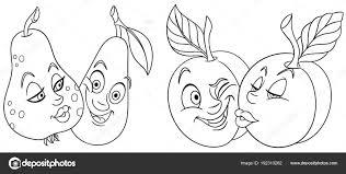 Disegni Colorare Frutta Del Fumetto Nell Amore Bel Bacio Emoticon