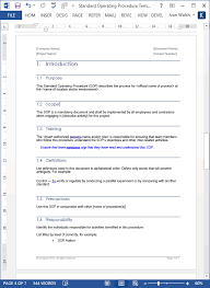 standard operating procedures template word standard operating procedure sops templates