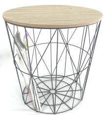 black wire coffee table metal side with detachable wooden top round