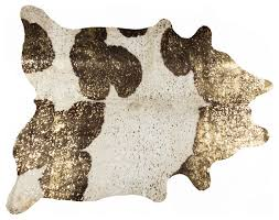 5 x7 scotland cowhide rug chocolate white gold by natural rugs