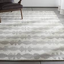Crate and Barrel Exclusive. Graphite Neutral Striped Wool Rug