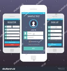 Sign In App Wireframe Mobile App Ui Kit Mobile Stock Vector Royalty Free