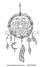 Dream Catcher With Crystals Black White Illustration Dreamcatcher Stock Illustration 100 60