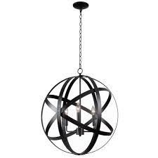 global 3 light black pendant