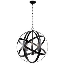 global 3 light black pendant