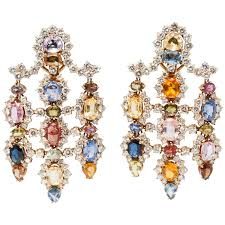 spectacular multicolor sapphires diamonds chandelier earrings