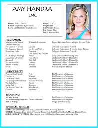 Sample Acting Resume Adorable Performer Resume Template Child Actor Sample Are Examples Acting No