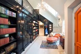 amazing dynamic home library design with black wooden wall bookshelves be equipped cupboard including wall chandelier amazing wooden chandelier