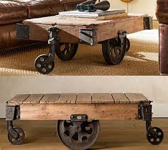reclaimed factory cart table from