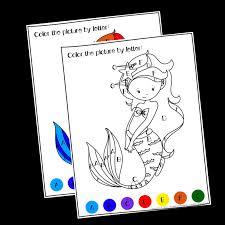 Free halloween pumpkin color by number/letter for preschool. Printable Mermaid Color By Letter Great For Preschool Kindergarten