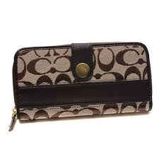 New Coach In Signature Large Coffee Wallets Cjl Sale UK SdhRK