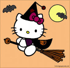 Top 25 halloween coloring pages for kids: Hello Kitty Go To Play Halloween Coloring Pages Cartoons Coloring Pages Free Printable Coloring Pages Online