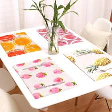 1 Piece Kitchen Table Mats Cotton Fabric Table Placemats Fruit Strawberry Grape Pattern Pad Tableware Dinnerware Pad Decor