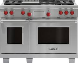 wolf dual fuel range. Delighful Fuel Wolf DF484CGLP 48 Inch ProStyle DualFuel Range With 4 DualStacked Sealed  Burners 45 Cu Ft Dual Convection Main Oven SelfClean Infrared Griddle  For Fuel