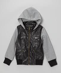children s coat kids black leather jacket cortical oblique zipper