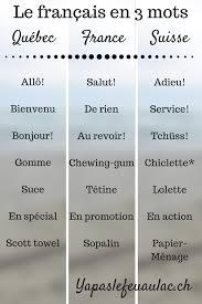 mots québécois mots suisses tableau de correspons