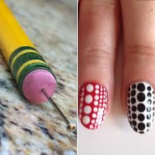Pencil Eraser & Sewing Pin As A Dotting Tool This DIY nail art ...