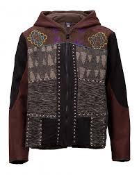 men s patchwork fleece lined hooded jacket