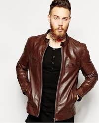 dark brown leather biker jacket for men