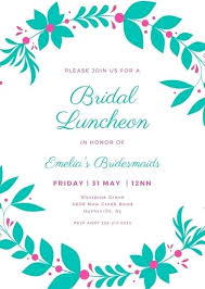 Lunch Invitation Template Pink And Green Wreath Illustration